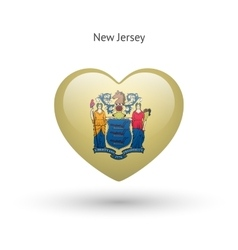 Love New Jersey state symbol Heart flag icon vector image