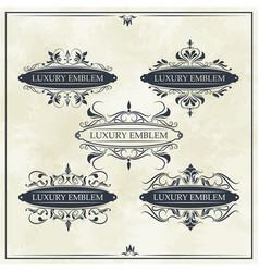 luxury emblem set ornament decoration vintage vector image