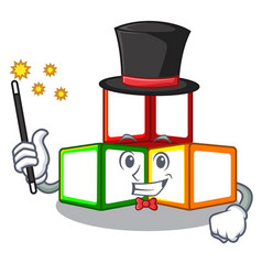 Magician toy blocks on cube boxes mascot vector