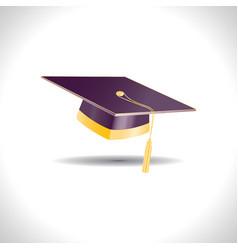 Marsala graduation student hat with golden element vector