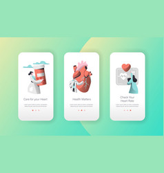 Medical cardiology care heart health mobile app vector