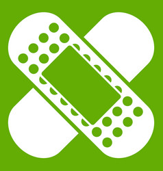 medical patch icon green vector image