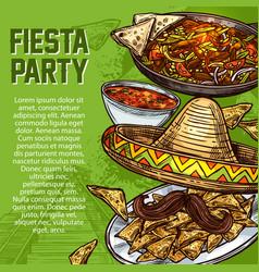 Mexican cuisine dishes cinco de mayo fiesta party vector