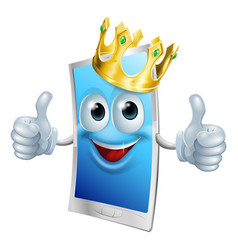 mobile phone cartoon king vector image