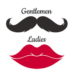 Mustaches and lips shape vector