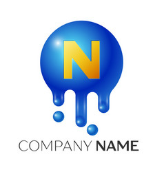 n letter splash logo blue dots and bubbles letter vector image