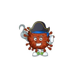 One hand pirate cartoon coronavirus wearing a hat vector