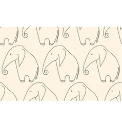 One line elephant seamless pattern vector