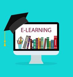 online education in school book in computer vector image