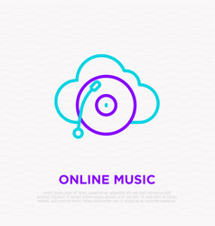 online music line icon record player on cloud vector image
