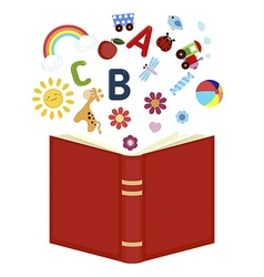 Open book with childrens icons vector image