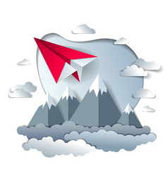 Origami paper plane toy flying in the sky over vector