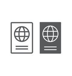 passport line and glyph icon travel and tourism vector image