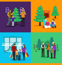 People celebrating christmas clipart vector