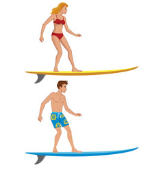 People on surfing board vector