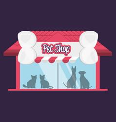 Pet shop building facade vector