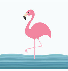 Pink flamingo standing on one leg water sea wave vector
