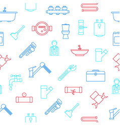 plumbing equipments and tools seamless pattern vector image