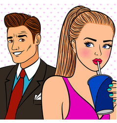 pop art girl flirtng with man vector image