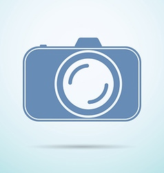 Professional photocamera flat icon on blue vector
