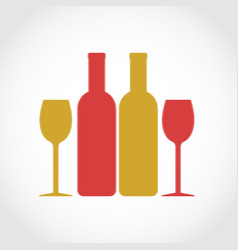 red and white wine glass and bottles stock vector image