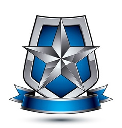 Renown silver star emblem with wavy ribbon placed vector
