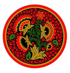 Russian ethnic hohloma style tray vector