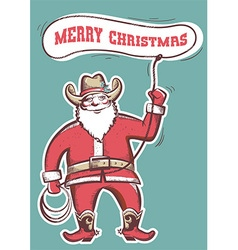 Santa claus in cowboy boots twirling a lasso vector