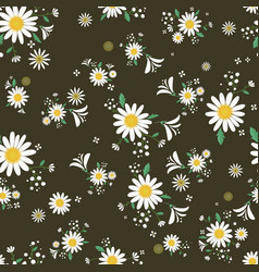 seamless daisy floral pattern in dark background vector image