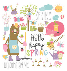 set cartoon animals and spring elements vector image