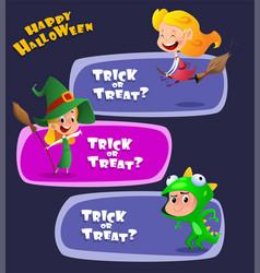 set cute kids wearing halloween costumes vector image
