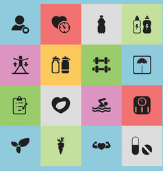set of 16 editable sport icons includes symbols vector image