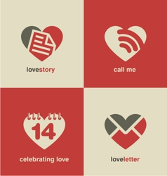Set of heart shape icons and symbols vector