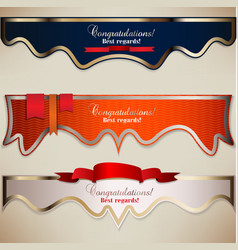 Set of holiday banners with ribbons background vector image