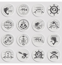 Set of vintage fishing labels badges and design vector image