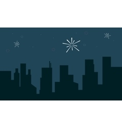 Silhouette of building with firework landscape vector