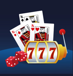 Slot machine cards and dices betting game gambling vector