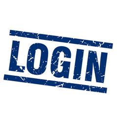 square grunge blue login stamp vector image