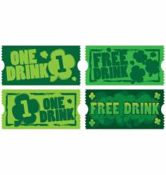 sty Patrick's day drink tickets vector image