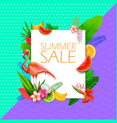 Summer time exotic tropical sale poster design vector