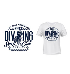 T-shirt print with cuttlefish scuba dive club vector