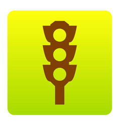 traffic light sign brown icon at green vector image