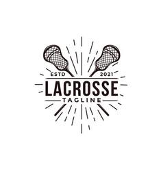 Vintage seal badge lacrosse sport logo vector