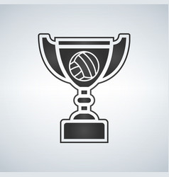 Voleyball trophy cup award icon in flat style vector