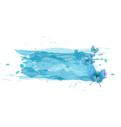 watercolor imitation color splash with blue vector image
