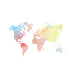 watercolor map of world colorful vector image