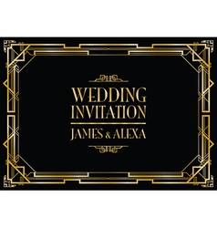 Wedding invitation art deco vector