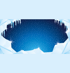 winter background with ice and icicles vector image