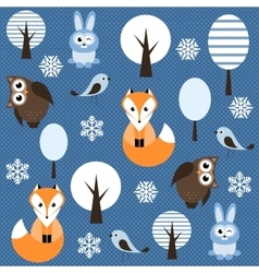 Winter forest with animals vector