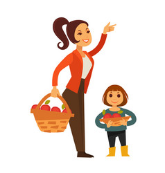 Woman and child gather apple fruit harvest in vector